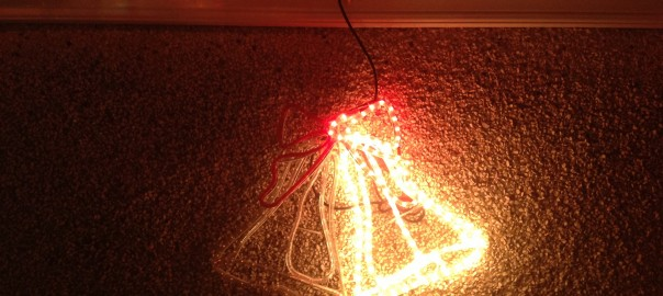 3D Bells Silhouette made from flashing rope lights